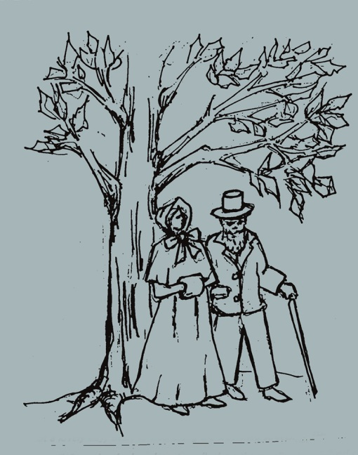 Victorian Couple Walking Along Tree-Lined Streets